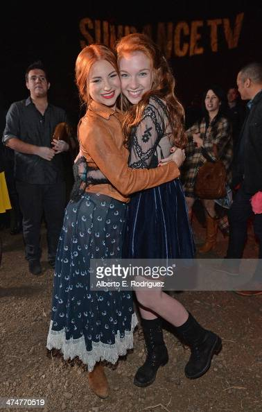 Actors Allie Gonino and Annalise Basso attend a screening of Sundance Channel's 'The Red Road' at The Bronson Caves at Griffith Park on February 24...
