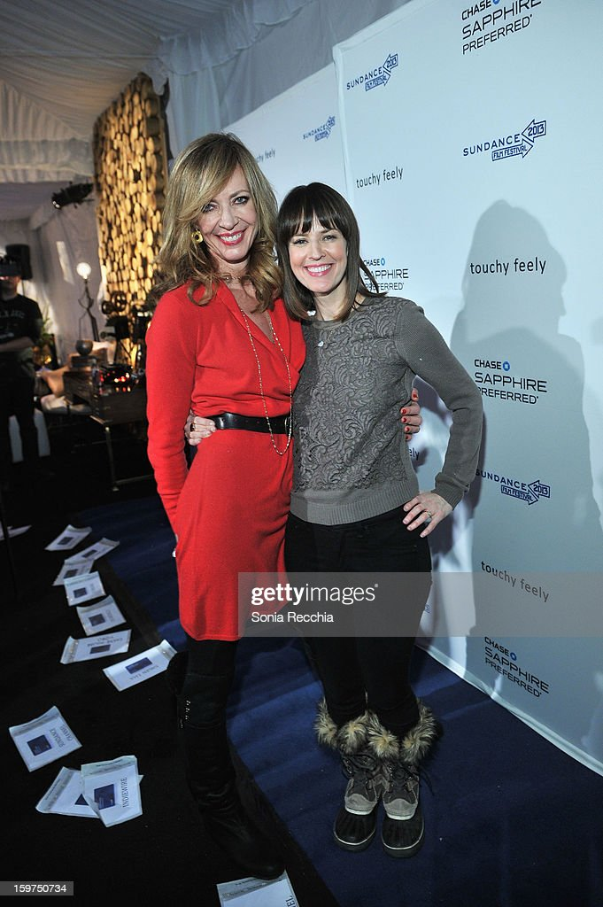 Actors <a gi-track='captionPersonalityLinkClicked' href=/galleries/search?phrase=Allison+Janney&family=editorial&specificpeople=206290 ng-click='$event.stopPropagation()'>Allison Janney</a> and <a gi-track='captionPersonalityLinkClicked' href=/galleries/search?phrase=Rosemarie+DeWitt&family=editorial&specificpeople=630212 ng-click='$event.stopPropagation()'>Rosemarie DeWitt</a> attend the Premiere Party presented by Chase Sapphire at The Shop during the 2013 Sundance Film Festival on January 19, 2013 in Park City, Utah.