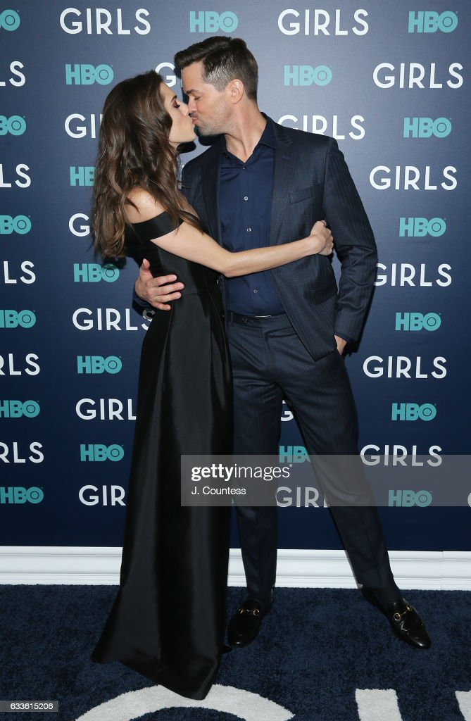 Actors Allison Williams and Andrew Rannells attend the New York premiere of the sixth and final season of 'Girls' at Alice Tully Hall, Lincoln Center on February 2, 2017 in New York City.