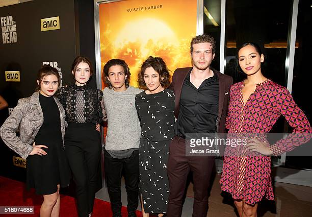 Actors Ally Ioannides Sarah Bolger Aramis Knight Orla Brady Oliver Stark and Madeleine Mantock attend the season 2 premiere of 'Fear the Walking...
