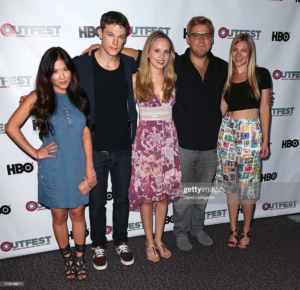 Actors <a gi-track='captionPersonalityLinkClicked' href=/galleries/search?phrase=Ally+Maki&family=editorial&specificpeople=2499490 ng-click='$event.stopPropagation()'>Ally Maki</a>, Grant Harvey, Meaghan Martin, Andrew Caldwell and Allie Gonio attend the 2013 Outfest Film Festival 'Geography Club' screening at the Directors Guild Of America on July 14, 2013 in Los Angeles, California.