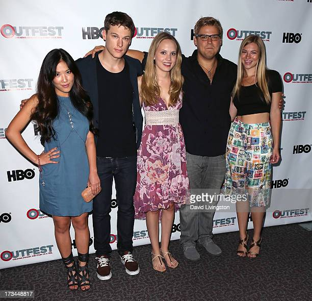 Actors Ally Maki Grant Harvey Meaghan Martin Andrew Caldwell and Allie Gonio attend the 2013 Outfest Film Festival 'Geography Club' screening at the...