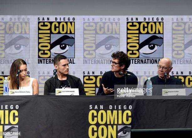 Actors Alycia DebnamCarey Sam Underwood Daniel Sharman and Dayton Callie speak onstage at ComicCon International 2017 AMC's 'Fear The Walking Dead'...