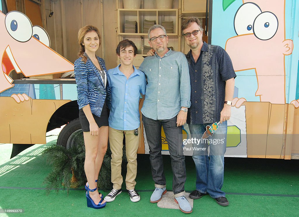 Actors Alyson Stoner and Vincent Martella pose with creators Jeff 'Swampy' Marsh and Dan Povenmire from the cartoon 'Phineas and Ferb' at the...