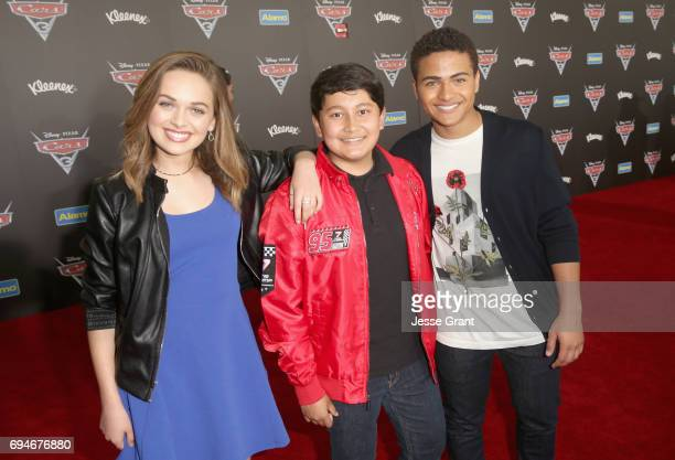 """Actors Alyssa Jirrels ___ and ___ at the World Premiere of Disney/Pixar's """"Cars 3' at the Anaheim Convention Center on June 10 2017 in Anaheim..."""