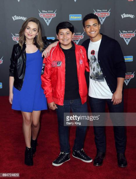 Actors Alyssa Jirrels Kamran Lucas and Nathaniel J Potvin attend the World Premiere of Disney and Pixar's 'Cars 3' at Anaheim Convention Center on...