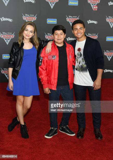 Actors Alyssa Jirrels Kamran Lucas and Nathaniel Potvin attend the premiere of Disney and Pixar's 'Cars 3' at Anaheim Convention Center on June 10...