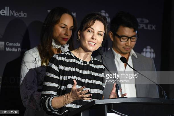 Actors Amanda Brugel Maxim Roy and Simu Liu attend the 2017 Canadian Screen Awards Press Conference held at the ThorntonSmith Building on January 17...