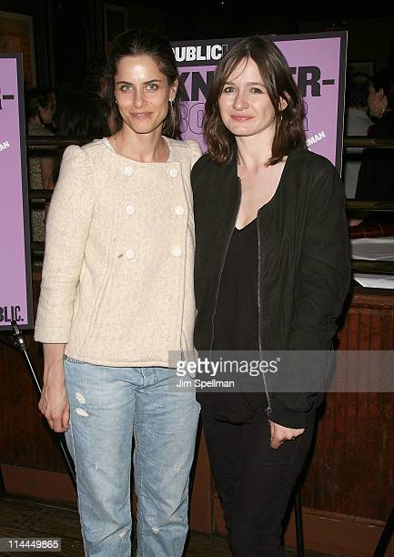 Actors Amanda Peet and Emily Mortimer attend the after party for the opening night 'Knickerbocker' at Knickerbocker Bar Grill on May 19 2011 in New...
