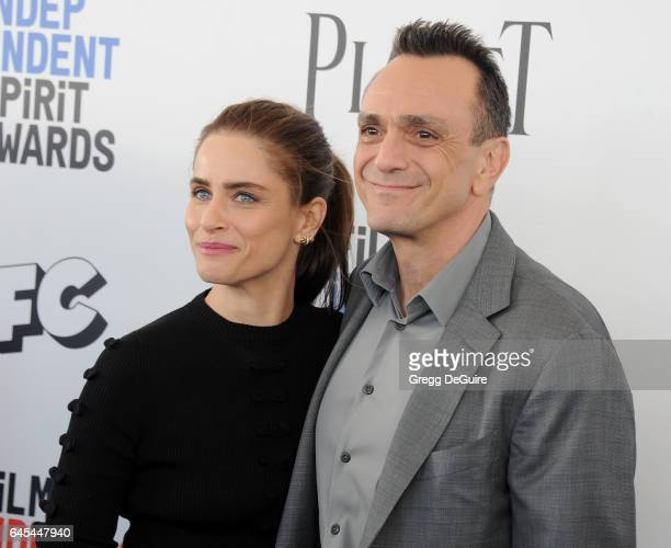 Actors Amanda Peet and Hank Azaria arrive at the 2017 Film Independent Spirit Awards on February 25 2017 in Santa Monica California