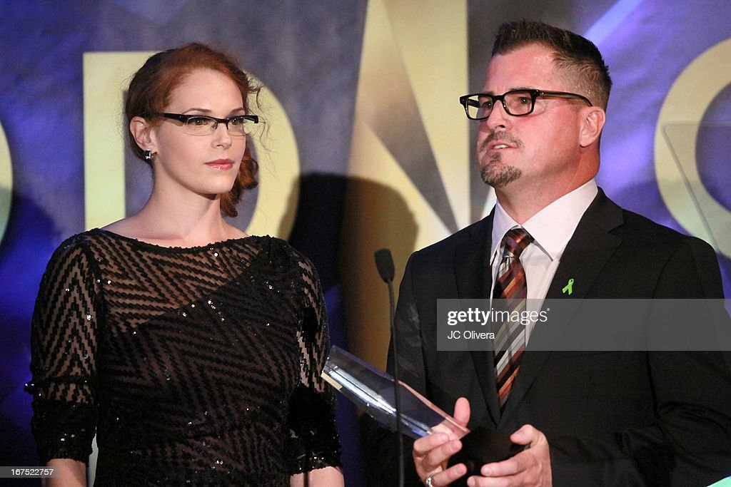 Actors Amanda Righetti (L) and George Eads speak during the 17th Annual Prism Awards at Beverly Hills Hotel on April 25, 2013 in Beverly Hills, California.