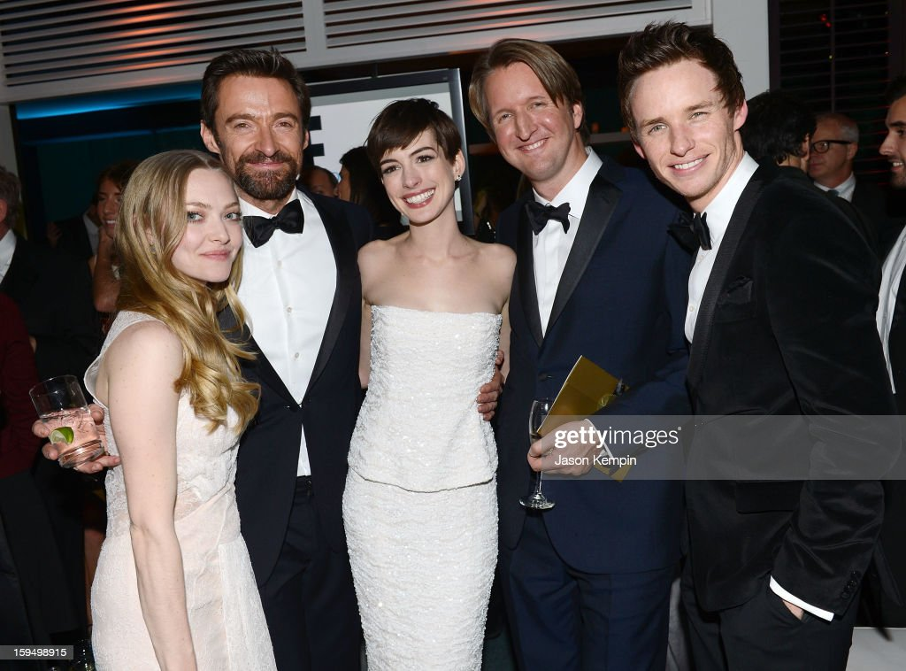 Actors Amanda Seyfried, Hugh Jackman, Anne Hathaway, director Tom Hooper and actor Eddie Redmayne attend the NBCUniversal Golden Globes viewing and after party held at The Beverly Hilton Hotel on January 13, 2013 in Beverly Hills, California.