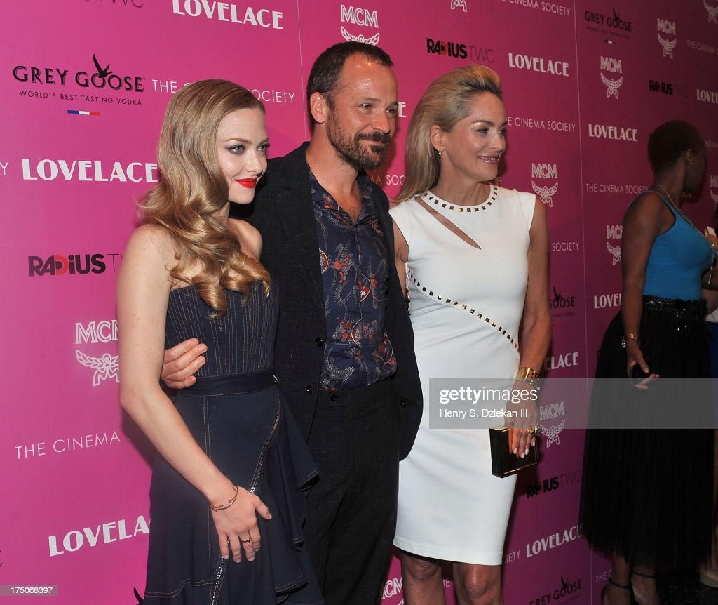 Actors Amanda Seyfried, Peter Sarsgaard and Sharon Stone attend The Cinema Society and MCM with Grey Goose screening of Radius TWC's 'Lovelace' at Museum of Modern Art on July 30, 2013 in New York City.
