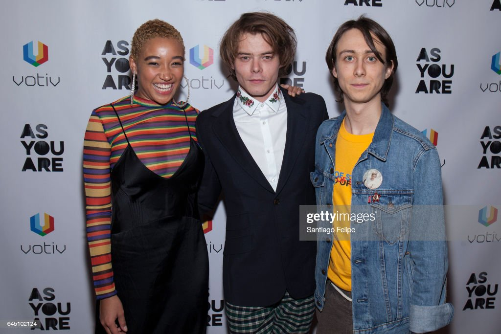 Actors Amandla Stenberg, Charlie Heaton and Owen Campbell attend 'As You Are' New York Premiere at Village East Cinema on February 24, 2017 in New York City.