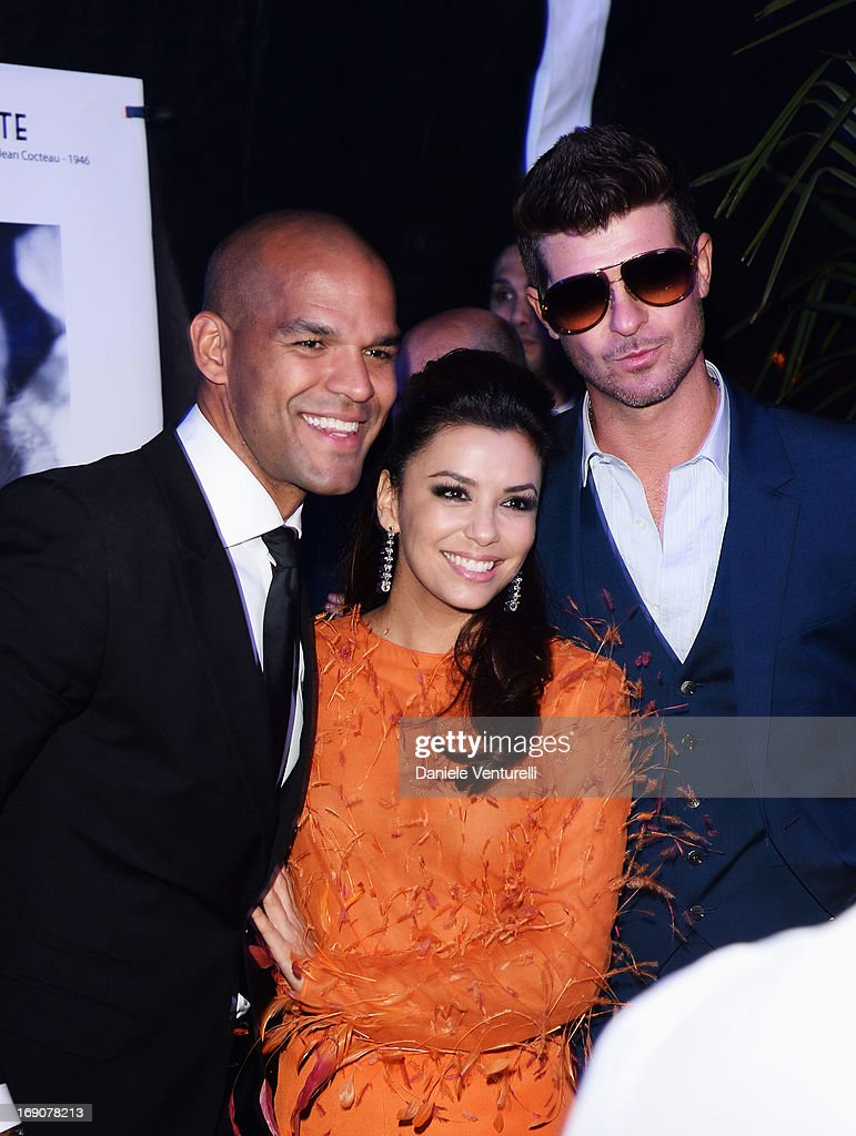 Actors <a gi-track='captionPersonalityLinkClicked' href=/galleries/search?phrase=Amaury+Nolasco&family=editorial&specificpeople=4493818 ng-click='$event.stopPropagation()'>Amaury Nolasco</a>, <a gi-track='captionPersonalityLinkClicked' href=/galleries/search?phrase=Eva+Longoria&family=editorial&specificpeople=202082 ng-click='$event.stopPropagation()'>Eva Longoria</a> and singer <a gi-track='captionPersonalityLinkClicked' href=/galleries/search?phrase=Robin+Thicke&family=editorial&specificpeople=724390 ng-click='$event.stopPropagation()'>Robin Thicke</a> attend the <a gi-track='captionPersonalityLinkClicked' href=/galleries/search?phrase=Eva+Longoria&family=editorial&specificpeople=202082 ng-click='$event.stopPropagation()'>Eva Longoria</a> Global Gift Gala after party hosted by Nikki Beach Cannes during The 66th Annual Cannes Film Festival on May 19, 2013 in Cannes, France.