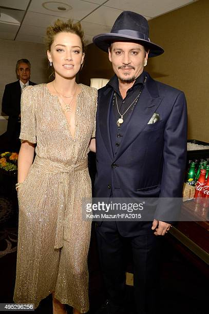 Actors Amber Heard and Johnny Depp attend the 19th Annual Hollywood Film Awards at The Beverly Hilton Hotel on November 1 2015 in Beverly Hills...