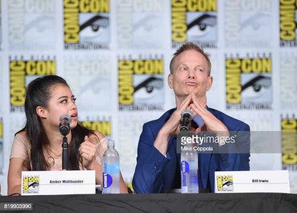 Actors Amber Midthunder and Bill Irwin onstage at the 'Legion' screening and QA during ComicCon International 2017 at San Diego Convention Center on...