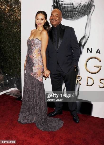 Actors Amber Stevens West and David Allen Grier arrive at the 48th NAACP Image Awards at Pasadena Civic Auditorium on February 11 2017 in Pasadena...