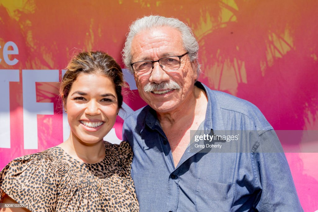 Actors America Ferrera and Edward James Olmos arrive for the 2017 Sundance NEXT FEST at The Theater at The Ace Hotel on August 12, 2017 in Los Angeles, California.