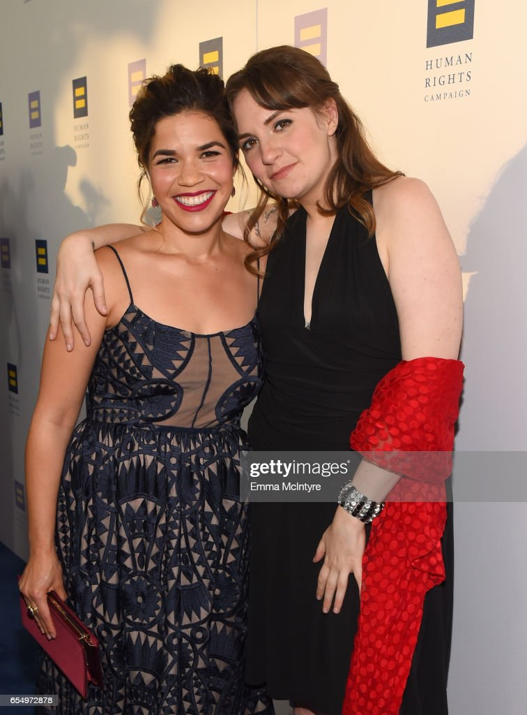 Actors America Ferrera (L) and Lena Dunham at The Human Rights Campaign 2017 Los Angeles Gala Dinner at JW Marriott Los Angeles at L.A. LIVE on March 18, 2017 in Los Angeles, California.