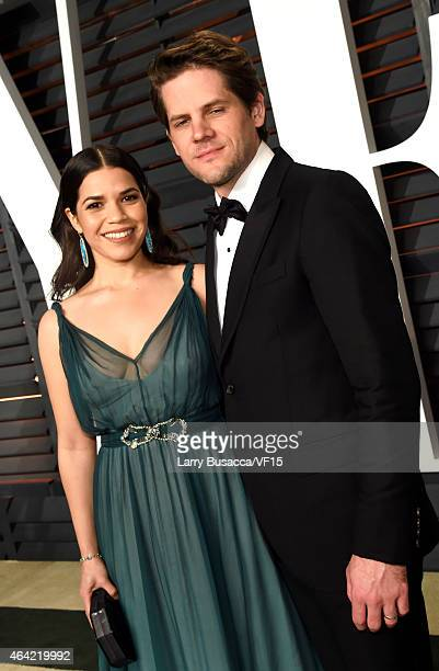 Actors America Ferrera and Ryan Piers Williams attend the 2015 Vanity Fair Oscar Party hosted by Graydon Carter at the Wallis Annenberg Center for...