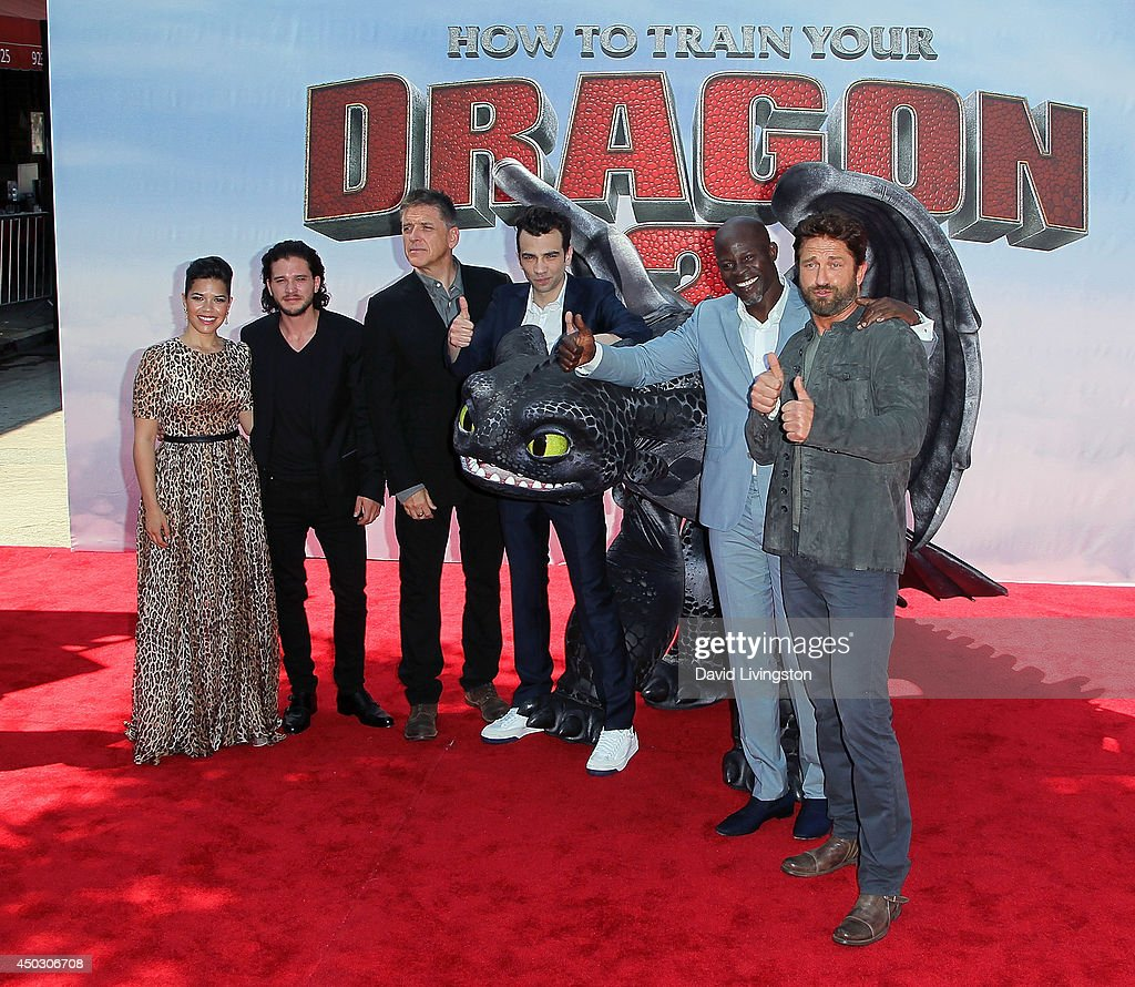 Actors America Ferrera, Kit Harington, Craig Ferguson, Jay Baruchel, Djimon Hounsou and Gerard Butler attend the premiere of Twentieth Century Fox and DreamWorks Animation 'How to Train Your Dragon 2' at the Regency Village Theatre on June 8, 2014 in Westwood, California.