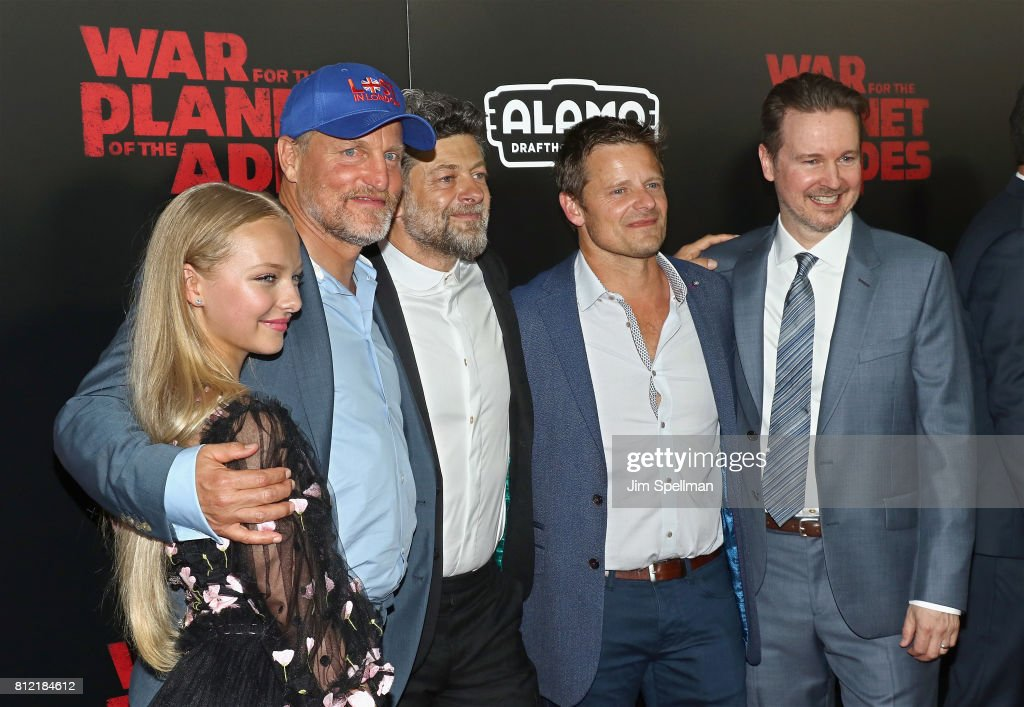 Actors Amiah Miller, Woody Harrelson, Andy Serkis, Steve Zahn and director Matt Reeves attend the 'War For The Planet Of The Apes' New York premiere at SVA Theater on July 10, 2017 in New York City.