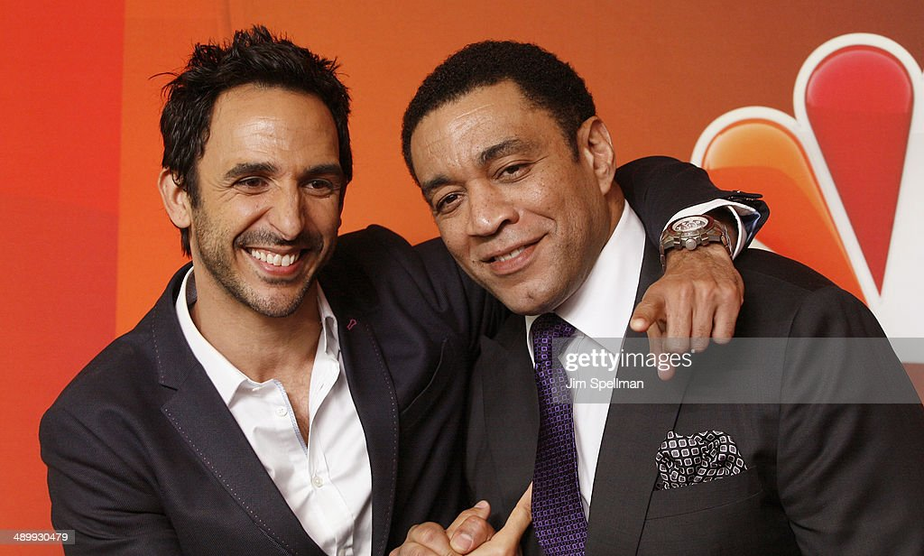 Actors Amir Arison and Harry Lennix from 'The Blacklist' attend the 2014 NBC Upfront Presentation at The Jacob K Javits Convention Center on May 12...