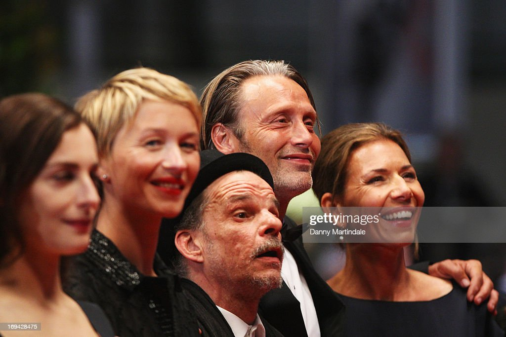 Actors Amira Casar, Delphine Chuillot, Denis Lavant, Mads Mikkelsen and wife Hanne Jacobsen attend the Premiere of 'Michael Kohlhaas' at The 66th Annual Cannes Film Festival at Palais des Festivals on May 24, 2013 in Cannes, France.