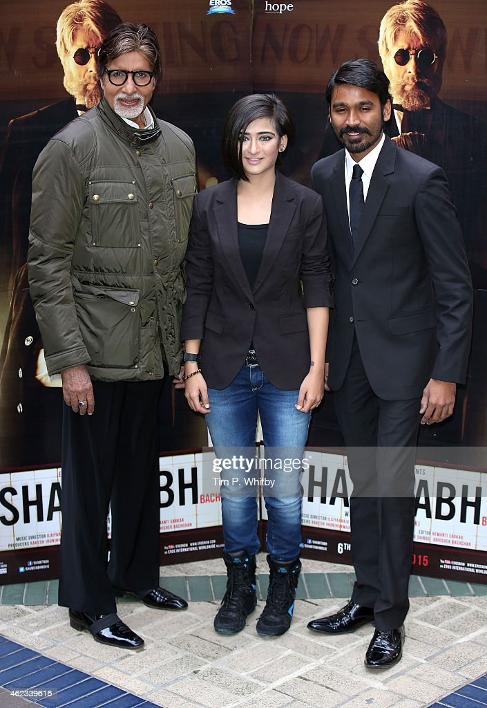 Actors Amitabh Bachchan, Akshara Haasan and Dhanush attend a photocall for 'Shamitabh' at St James Court Hotel on January 27, 2015 in London, England.
