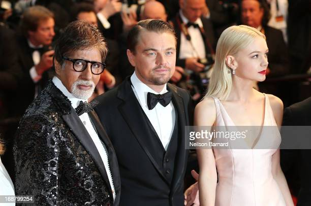 Actors Amitabh Bachchan Leonardo DiCaprio and Carey Mulligan attend the Opening Ceremony and premiere of 'The Great Gatsby' during the 66th Annual...