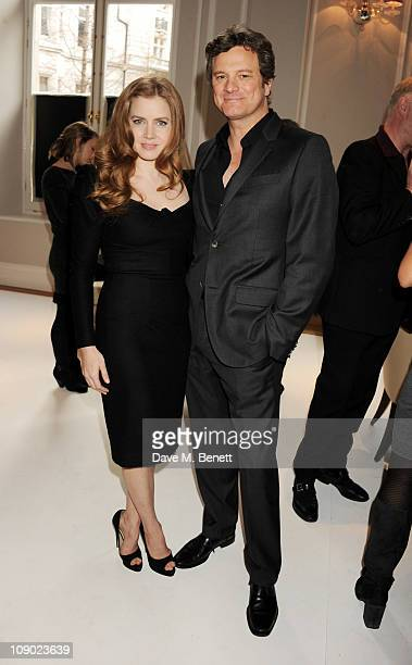 Actors Amy Adams and Colin Firth attend Momentum Pictures' preBAFTA lunch at the Corinthia Hotel London on February 12 2011 in London England