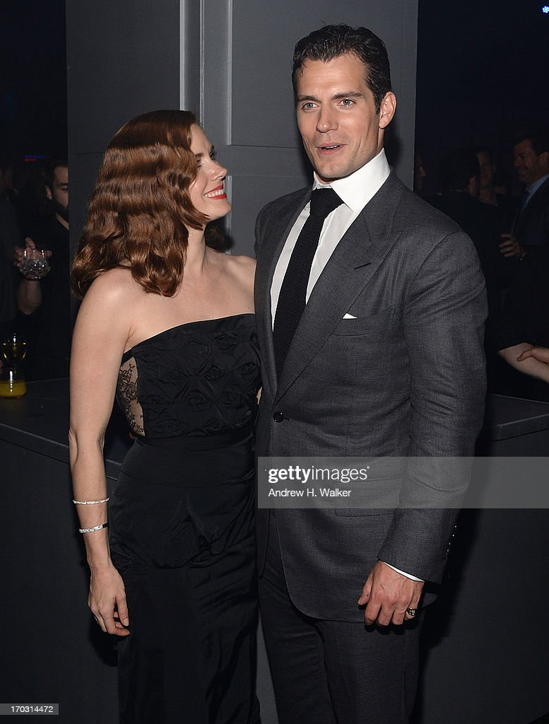 Actors <a gi-track='captionPersonalityLinkClicked' href=/galleries/search?phrase=Amy+Adams&family=editorial&specificpeople=213938 ng-click='$event.stopPropagation()'>Amy Adams</a> and <a gi-track='captionPersonalityLinkClicked' href=/galleries/search?phrase=Henry+Cavill&family=editorial&specificpeople=3767741 ng-click='$event.stopPropagation()'>Henry Cavill</a> attend the 'Man Of Steel' world premiere after party at Skylight at Moynihan Station on June 10, 2013 in New York City.