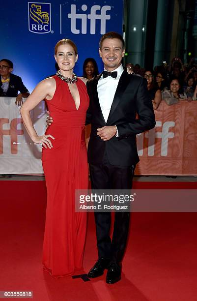 Actors Amy Adams and Jeremy Renner attend the 'Arrival' premiere during the 2016 Toronto International Film Festival at Roy Thomson Hall on September...