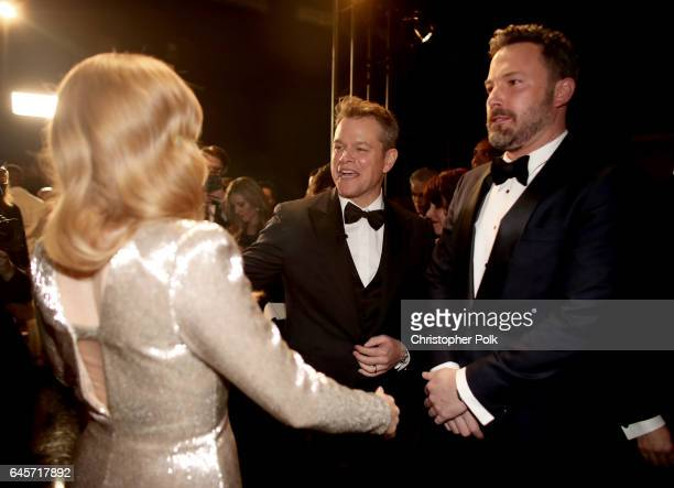 Actors Amy Adams Matt Damon and Ben Affleck backstage during the 89th Annual Academy Awards at Hollywood Highland Center on February 26 2017 in...