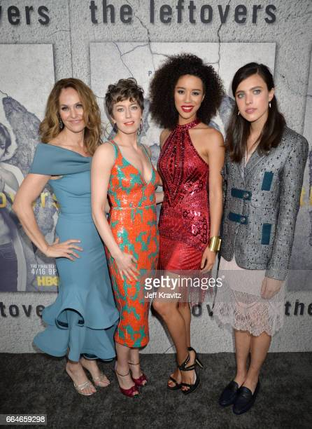 Actors Amy Brenneman Carrie Coon Jasmin Savoy Brown and Sarah Margaret Qualley attend HBO's 'The Leftovers' season 3 premiere and after party at...