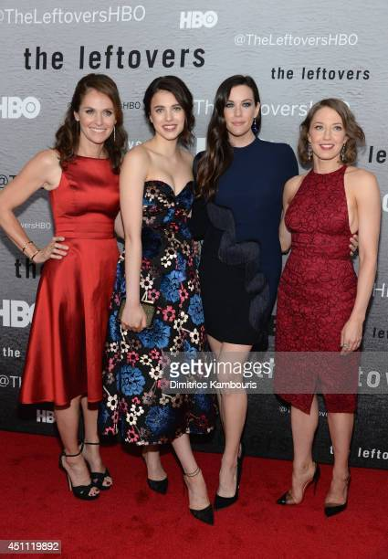 Actors Amy Brenneman Margaret Qualley Liv Tyler and Carrie Coon attend 'The Leftovers' premiere at NYU Skirball Center on June 23 2014 in New York...