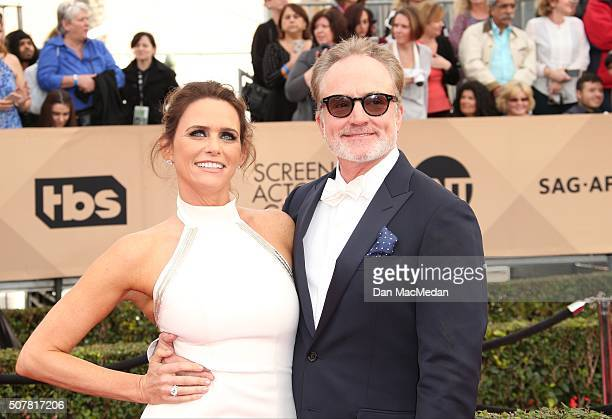 Actors Amy Landecker and Bradley Whitford attend the 22nd Annual Screen Actors Guild Awards at The Shrine Auditorium on January 30 2016 in Los...