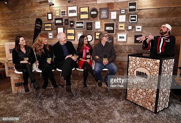 Actors Amy Landecker Connie Britton John Lithgow Salma Hayek and director Miguel Areta of 'Cast Change' speak with Kevin Smith at The IMDb Studio...