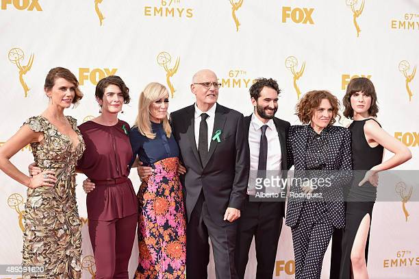 Actors Amy Landecker Gaby Hoffmann Judith Light Jeffrey Tambor Jay Duplass writer Jill Soloway and Hari Nef attend the 67th Emmy Awards at Microsoft...