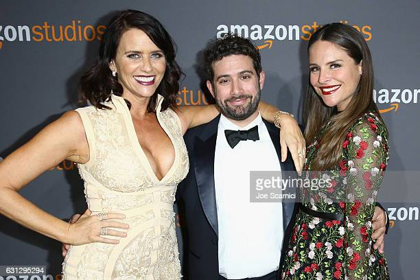 Actors Amy Landecker Joe Lewis and Yara Martinez attend Amazon Studios Golden Globes Celebration at The Beverly Hilton Hotel on January 8 2017 in...