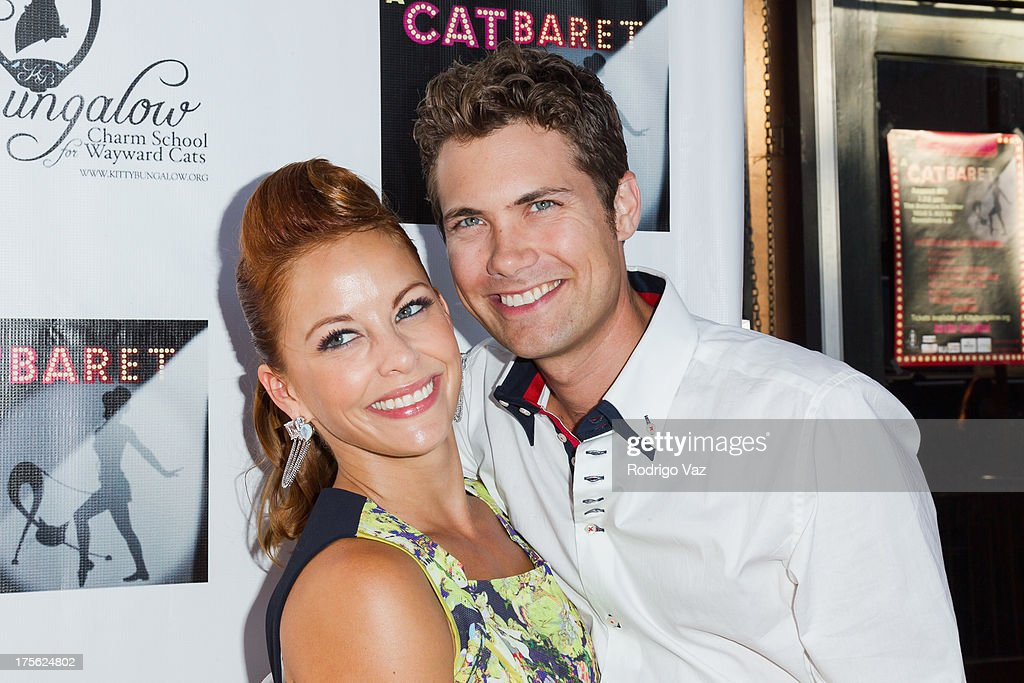 Actors <a gi-track='captionPersonalityLinkClicked' href=/galleries/search?phrase=Amy+Paffrath&family=editorial&specificpeople=2270596 ng-click='$event.stopPropagation()'>Amy Paffrath</a> (L) and <a gi-track='captionPersonalityLinkClicked' href=/galleries/search?phrase=Drew+Seeley&family=editorial&specificpeople=835160 ng-click='$event.stopPropagation()'>Drew Seeley</a> arrive at 'CATberet' - A Musical Review for local cat and kitten rescue center Kitty Bungalow Charm School For Wayward Cats at Belasco Theatre on August 4, 2013 in Los Angeles, California.