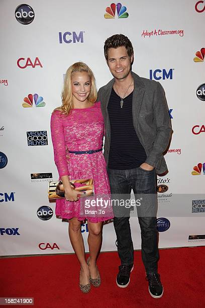 Actors Amy Paffrath and Drew Seeley attend Junior Hollywood Radio Television Society holiday party at Boulevard3 on December 11 2012 in Hollywood...