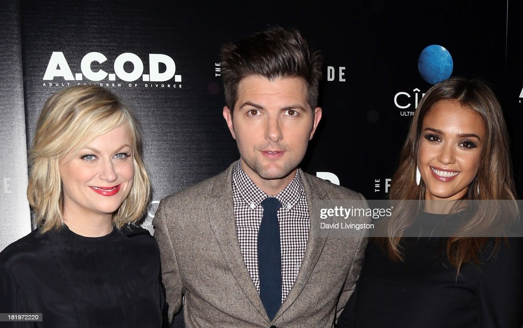 Actors <a gi-track='captionPersonalityLinkClicked' href=/galleries/search?phrase=Amy+Poehler&family=editorial&specificpeople=228430 ng-click='$event.stopPropagation()'>Amy Poehler</a>, Adam Scott and <a gi-track='captionPersonalityLinkClicked' href=/galleries/search?phrase=Jessica+Alba&family=editorial&specificpeople=201811 ng-click='$event.stopPropagation()'>Jessica Alba</a> attend the premiere of the Film Arcade's 'A.C.O.D.' at the Landmark Theater on September 26, 2013 in Los Angeles, California.