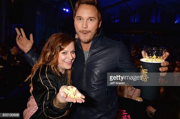 Actors Amy Poehler and Chris Pratt attend the 2016 MTV Movie Awards at Warner Bros Studios on April 9 2016 in Burbank California MTV Movie Awards...