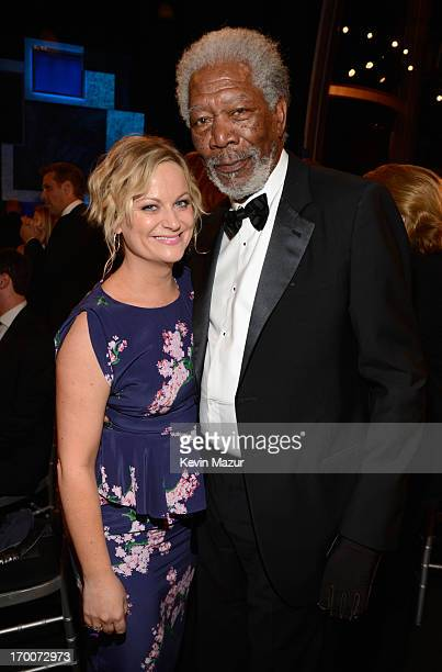 Actors Amy Poehler and Morgan Freeman attend AFI's 41st Life Achievement Award Tribute to Mel Brooks at Dolby Theatre on June 6 2013 in Hollywood...
