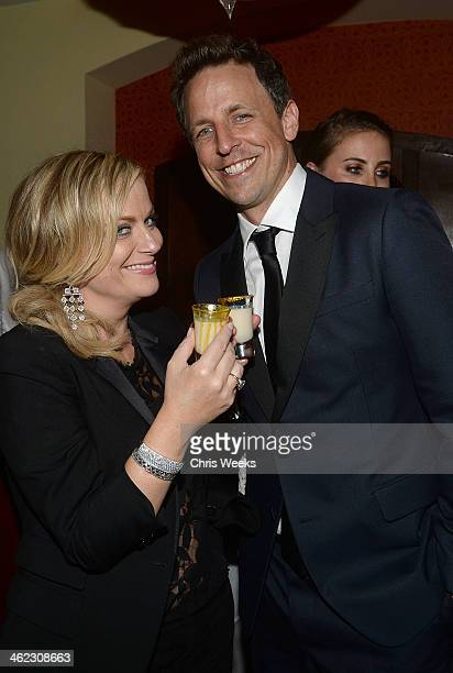 Actors Amy Poehler and Seth Meyers attend a private Golden Globes after party at Chateau Marmont on January 12 2014 in Los Angeles California