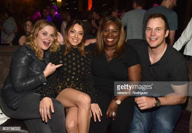 Actors Amy Poehler Aubrey Plaza Rhetta and Chris Pratt attend the after party for the premiere of Neon's 'Ingrid Goes West' on July 27 2017 in...