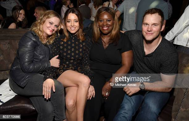 Actors Amy Poehler Aubrey Plaza Rhetta and Chris Pratt attend the after party for the Los Angeles Premiere of INGRID GOES WEST presented by SVEDKA...