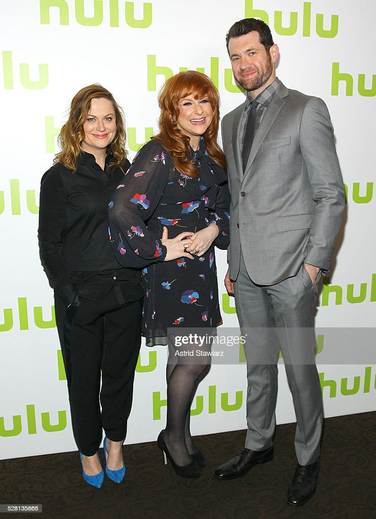 Actors <a gi-track='captionPersonalityLinkClicked' href=/galleries/search?phrase=Amy+Poehler&family=editorial&specificpeople=228430 ng-click='$event.stopPropagation()'>Amy Poehler</a>, <a gi-track='captionPersonalityLinkClicked' href=/galleries/search?phrase=Julie+Klausner&family=editorial&specificpeople=8780325 ng-click='$event.stopPropagation()'>Julie Klausner</a> and <a gi-track='captionPersonalityLinkClicked' href=/galleries/search?phrase=Billy+Eichner&family=editorial&specificpeople=4821961 ng-click='$event.stopPropagation()'>Billy Eichner</a> attend the 2016 Hulu Upftont on May 04, 2016 in New York, New York.